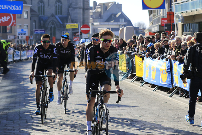 Team Sky including Owain Doull (WAL) head to sign on before the start of Gent-Wevelgem in Flanders Fields 2017, running 249km from Denieze to Wevelgem, Flanders, Belgium. 26th March 2017.<br /> Picture: Eoin Clarke | Cyclefile<br /> <br /> <br /> All photos usage must carry mandatory copyright credit (&copy; Cyclefile | Eoin Clarke)