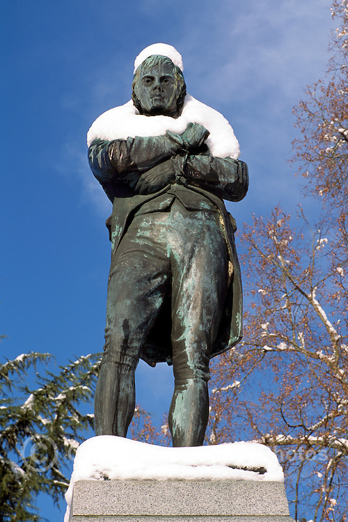 """Snow Covered """"Robert Burns"""" Statue in Stanley Park, Vancouver, BC, British Columbia, Canada, Winter"""