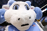 18 November 2015: UNC mascot Rameses Jr. wears a mustache for Movember. The University of North Carolina Tar Heels hosted the Wofford College Terriers at the Dean E. Smith Center in Chapel Hill, North Carolina in a 2015-16 NCAA Division I Men's Basketball game. UNC won the game 78-58.