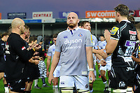 Matt Garvey of Bath Rugby leads his team-mates off the field after the match. Aviva Premiership match, between Exeter Chiefs and Bath Rugby on October 30, 2016 at Sandy Park in Exeter, England. Photo by: Patrick Khachfe / Onside Images