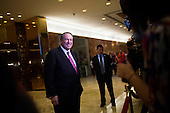 Former Governor Mike Huckabee (Republican of Arkansas) speaks to members of the media inside of the lobby of Trump Tower in Manhattan, New York, U.S., on Friday, November 18, 2016. <br /> Credit: John Taggart / Pool via CNP