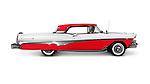 Red and white 1958 Ford Fairlane 500 Skyliner classic retro car side view isolated on white background with clipping path