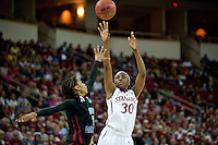 FRESNO, CA--Nneka Ogwumike scores two points early during a 76-60 win over South Carolina at the Save Mart Center for the West Regionals semifinals of the 2012 NCAA Championships.