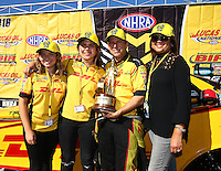 Aug 21, 2016; Brainerd, MN, USA; NHRA funny car driver Del Worsham celebrates with wife Connie Worsham and his daughters after winning the Lucas Oil Nationals at Brainerd International Raceway. Mandatory Credit: Mark J. Rebilas-USA TODAY Sports