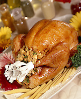 Whole Turkey with Stuffing and Corn