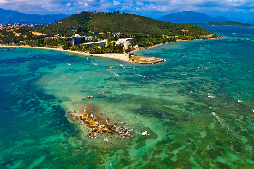 Aerial View, Kite surfers off Anse Vata Beach, Noumea, Grand Terre, New Caledonia