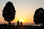 The public park along English Bay at sunset in Vancouver, British Columbia, Canada