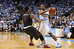 15 November 2015: North Carolina's Nate Britt (0) and Fairfield's Jerome Segura (1). The University of North Carolina Tar Heels hosted the Fairfield University Stags at the Dean E. Smith Center in Chapel Hill, North Carolina in a 2015-16 NCAA Division I Men's Basketball game. UNC won the game 92-65.