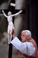 Pope Benedict XVI celebrates Holy Friday Passion of the Lord mass in Saint Peter's Basilica at the Vatican ..April 10, 2009..