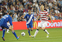U.S midfielder Michael Bradley (4) attacks the Guatemala defence..USMNT defeated Guatemala 3-1 in World Cup qualifying play at LIVESTRONG Sporting Park, Kansas City, KS.