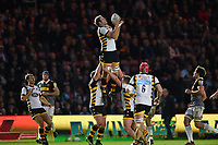 Joe Launchbury of Wasps claims the ball in the air. Aviva Premiership match, between Harlequins and Wasps on April 28, 2017 at the Twickenham Stoop in London, England. Photo by: Patrick Khachfe / JMP