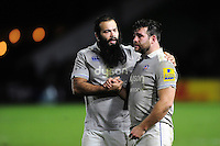 Kane Palma-Newport and Nathan Catt of Bath Rugby after the match. Aviva Premiership match, between Harlequins and Bath Rugby on November 27, 2016 at the Twickenham Stoop in London, England. Photo by: Patrick Khachfe / Onside Images
