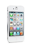 White iPhone 4s Apple smartphone with desktop icons on its display standing at an angle. Isolated on white background with clipping path.