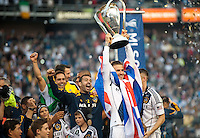 CARSON, CA-DECEMBER 1, 2012 -  David Beckham hoists the cup after winning the 2012 MLS Cup Championship at the Home Depot Center in Carson, CA.  The LA Galaxy defeated the visiting Houston Dynamo 2-1 to repeat as Cup champions.