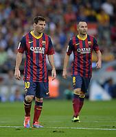 FUSSBALL  INTERNATIONAL  PRIMERA DIVISION  SAISON 2013/2014   10. Spieltag  El Clasico   FC Barcelona - Real Madrid         26.10.2013 Lionel Messi (li, Barca) und Andres Iniesta (Barca)