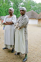 Costume characters at replica colonial fort heritage tourist attraction at Jamestown, Williamsburg, Virginia, United States of America