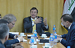 A delegation from the World Council of Churches listens to Bruno Geddo, representative in Iraq of the United Nations High Commissioner for Refugees. Geddo met with the group at UN headquarters in Baghdad on January 22, 2017.