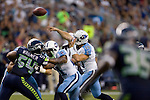 Tennessee Titans  quarterback Jake Locker passes against the Seattle Seahawks in a pre-season game at CenturyLink Field in Seattle, Washington on August 11, 2012. ©2012. Jim Bryant Photo. All Rights Reserved...