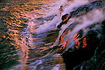Superheated lava often explodes when entering the cool ocean waters.
