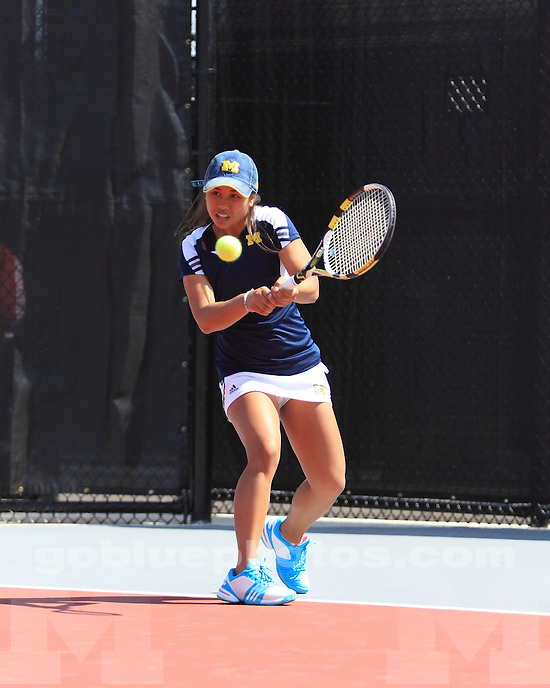 The University of Michigan women's tennis team defeated Indiana, 4-2, at the 2012 Big Ten Tournament in  Columbus, Ohio, on April 27, 2012.