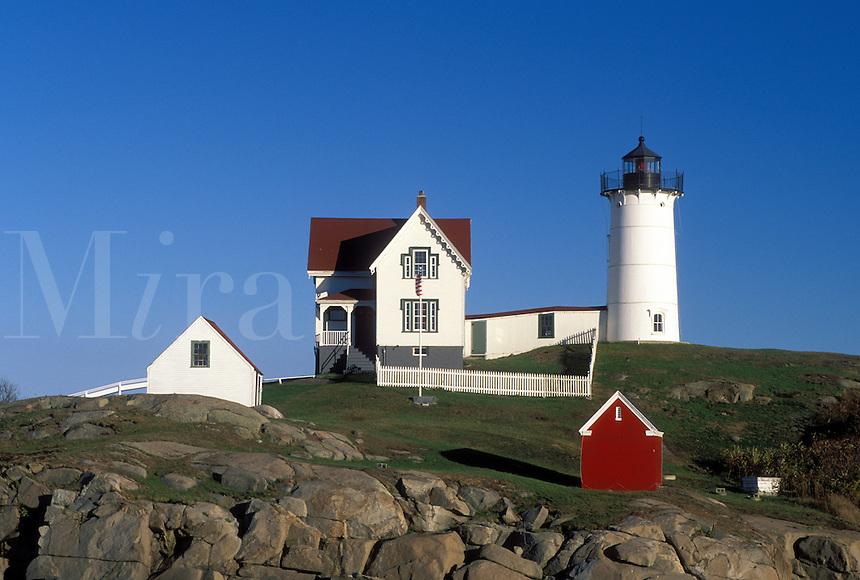 York Harbor, ME, Maine, Nubble Light, Cape Neddick Light at York Harbor on the Atlantic Ocean
