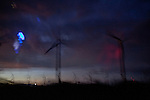 A view of windmills outside the town of La Venta, Oaxaca Mexico in the Isthmus of Tehuantapec in the early hours of the morning. ..The Isthmus of Tehuantapec, long a center for indigenous land ownership, is now embroiled in a land dispute over wind farm land.