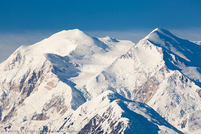 North and south summit of Denali visible from this view looking east, Denali National Park, Alaska.