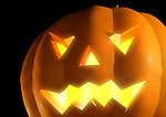 Scary Halloween pumpkin with glowing eyes realistic 3D illustration
