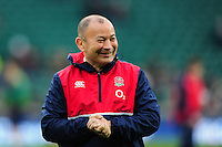 England Rugby Head Coach Eddie Jones looks on during the pre-match warm-up. RBS Six Nations match between England and Ireland on February 27, 2016 at Twickenham Stadium in London, England. Photo by: Patrick Khachfe / Onside Images