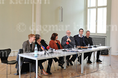 April 24-17,Staatsoper Unter den Linden,Berlin,Germany<br /> Staatsoper Unter den Linden reopens on 3rd october 2017<br /> L-r:talking to the media:Senatsbaudirektorin Regula Lüscher,Stadtentwicklungssenatorin Katrin Lompscher,  Staatsopernintendant Jürgen Flimm, designierter Staatsopernintendant Matthias Schulz, Kultursenator<br /> Dr. Klaus Lederer