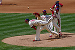 Phillies lefty Cole Hamels delivers a pitch against the Atlanta Braves.