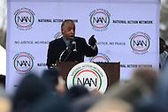Washington, DC - January 14, 2017: Rev. Al Sharpton, president of the National Action Network, speaks to hundreds of people gathered near the Martin Luther King Jr. Memorial in the District of Columbia, January 14, 2017, to recommit to Dr. Martin Luther King's vision.   (Photo by Don Baxter/Media Images International)