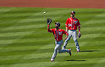 21 April 2013: Washington Nationals outfielder Denard Span pulls in a fly ball against the New York Mets at Citi Field in Flushing, NY. The Mets shut out the visiting Nationals 2-0, taking the rubber match of their 3-game weekend series. Mandatory Credit: Ed Wolfstein Photo *** RAW (NEF) Image File Available ***