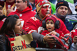 San Francisco 49ers fans wait for their team to come out onto the field against the Seattle Seahawks  of their NFLChampionship Game                 at CenturyLink Field in Seattle, Washington on January 19, 2014.  The Seahawks beat the 49ers 23-17 to represent the NFC in the Super Bowl.  ©2014. Jim Bryant Photo. ALL RIGHTS RESERVED.