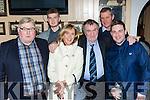 Tim Harrington, Gary Harrington, Ophelia Harrington, William Reilly. Ted Harrington and Robert O'Connor at the Christy Kissane dance in the Manor Inn on Saturday night