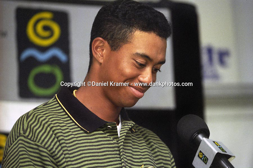 Tiger Woods at his press conference at his first professional golf tournament at the Greater Milwaukee Open in Milwaukee, Wisconsin.