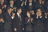 Standing from left to right, Governor Tom Ridge, Prime Minister Tony Blair of Great Britain, First Lady Laura Bush, and New York Mayor Rudolph Gilliani applaud United States President George W. Bush's address to a Joint Session of Congress on Thursday, September 20, 2001. .Mandatory Credit: Paul Morse - White House via CNP.