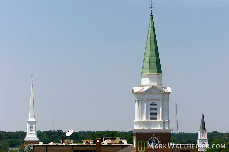 Church steeples in downtown Tallahassee, Florida.   (Mark Wallheiser/TallahasseeStock.com)