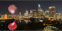 Fireworks explode over the Austin skyline and Ladybird Lake as Austin usher in a new year, 2014, and says adiose to 2013.
