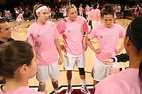 STANFORD, CA - FEBRUARY 14:  (L-R) Forward Kayla Pedersen #14, forward Jayne Appel #2, and forward Jillian Harmon #33 of the Stanford Cardinal during Stanford's 58-41 win against the California Golden Bears on February 14, 2009 at Maples Pavilion in Stanford, California.