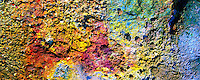 Colors of the clay in a geothermal area in Reykjanes near Reykjavik Iceland. Taken on Hasselblad Xpan camera with Fuji Velvia 50 iso film. Colors have been slightly enhanced. If looked closely then 1 krona coin and footprints can be seen get the sense of scale.
