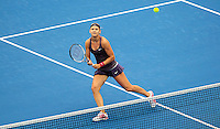 Lucie Safarova of Czech Republic prepares to return to compatriot Petra Kvitova during their women's singles match at the Sydney International tennis tournament in Sydney, Australia, Wednesday, Jan. 8, 2014. IMAGE RESTRICTED TO EDITORIAL USE ONLY. Photo by Daniel Munoz/VIEWpress