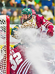 25 November 2014: University of Vermont Catamount Forward Jarrid Privitera, a Freshman from Old Tappan, NJ, scores Vermont's second, and game winning goal in the second period against the University of Massachusetts Minutemen at Gutterson Fieldhouse in Burlington, Vermont. The Cats defeated the Minutemen 3-1 to sweep the 2-game, home-and-away Hockey East Series. The 12th ranked Catamounts wore their camouflage uniforms for the evening to honor the US military. Mandatory Credit: Ed Wolfstein Photo *** RAW (NEF) Image File Available ***