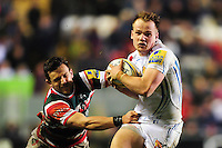 Stuart Townsend of Exeter Chiefs looks to get past Jono Kitto of Leicester Tigers. Aviva Premiership match, between Leicester Tigers and Exeter Chiefs on March 3, 2017 at Welford Road in Leicester, England. Photo by: Patrick Khachfe / JMP