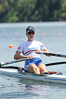 Hamilton, NEW ZEALAND. GBR W1X. Katie SOLESBURY,  move away from the start in the women's Single Sculls.  2010 World Rowing Championship on Lake Karapiro Sunday  31/10/2010. [Mandatory Credit Peter Spurrier:Intersport Images].
