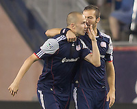 New England Revolution forward Rajko Lekic (10) celebrates his goal with teammates. In a Major League Soccer (MLS) match, the New England Revolution tied the Chicago Fire, 1-1, at Gillette Stadium on June 18, 2011.