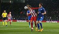 Atletico Madrid's Antoine Griezmann shields the ball from Leicester City's Christian Fuchs<br /> <br /> Photographer Stephen White/CameraSport<br /> <br /> UEFA Champions League Quarter Final Second Leg - Leicester City v Atletico Madrid - Tuesday 18th April 2017 - King Power Stadium - Leicester <br />  <br /> World Copyright &copy; 2017 CameraSport. All rights reserved. 43 Linden Ave. Countesthorpe. Leicester. England. LE8 5PG - Tel: +44 (0) 116 277 4147 - admin@camerasport.com - www.camerasport.com