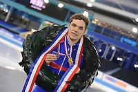 SCHAATSEN: HEERENVEEN: 04-02-2017, KPN NK Junioren, Podium Junioren A Heren, kampioen Chris Huizinga, ©foto Martin de Jong