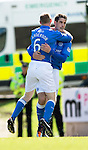 St Johnstone v Dundee....11.04.15   SPFL<br /> Brian Graham celebrates his goal with Steven Anderson<br /> Picture by Graeme Hart.<br /> Copyright Perthshire Picture Agency<br /> Tel: 01738 623350  Mobile: 07990 594431