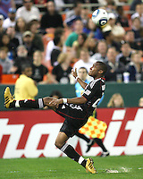 Rodney Wallace #22 of D.C. United kicks the ball over his head during an MLS match against the New England Revolution on April 3 2010, at RFK Stadium in Washington D.C.